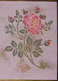 Stenciled foil dusted Rose Happy Anniversary